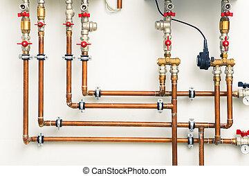 cuivre, canaux transmission, boiler-room