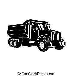 culbuteur, décharge, vecteur, dessin animé, truck.