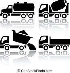 culbuteur, ensemble, icônes, -, mélangeur, béton, transport camion