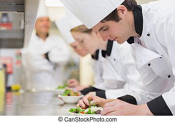 culinaire, cuisine, salades, confection, classe