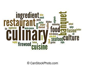 culinaire, mot, nuage
