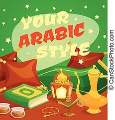 culture, arabe, concept