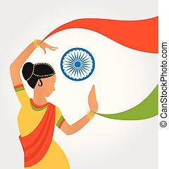culture, formulaire, différent, illustration, classique, inde, danse, coloré