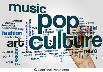 culture, mot, pop, nuage