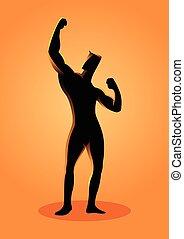 culturiste, pose, silhouette, illustration