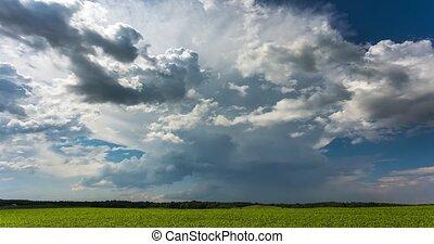 cumulonimbus, nuages, 4k-timelapse, vidéo, orage