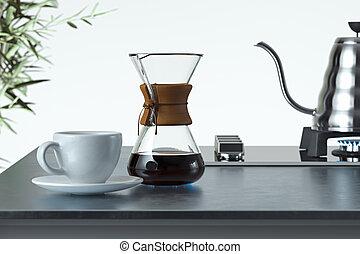 cup., café, rendre, préparé, fabricant, 3d, blanc, élégant, noir, fraîchement