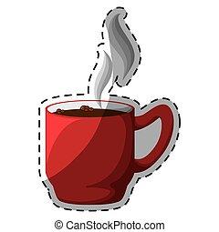 cuppa, café, conception, vapeur, rouges