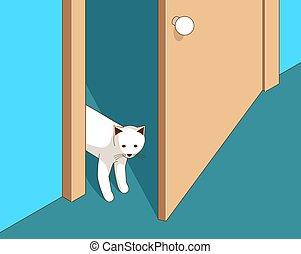 curieux, porte, regarde, chat, ouvre