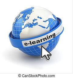 curseur, arrière-plan., e-learning., la terre, blanc, souris
