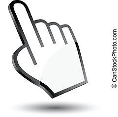 curseur, icône, main, 3d