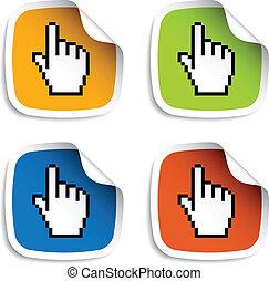 curseur, vecteur, autocollants, pixel, main