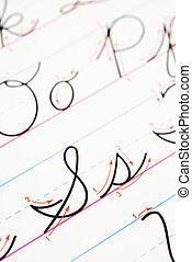 cursif, practice., écriture