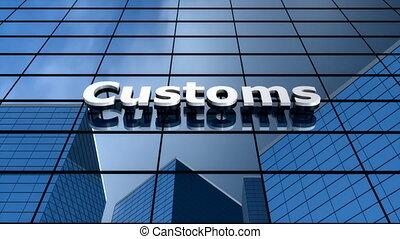 """""""customs, bâtiment, time-lapse."""", ciel bleu, nuages"""
