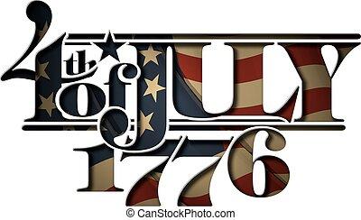cut-ou, lettrage, juillet, 1776, forth