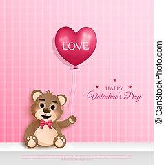 cuteness, teddy, tenue, coeur, ours, main., dessin animé, character., ballons