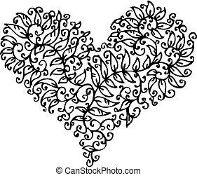 cxxxv, coeur, romantique, vignette