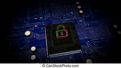 cyber, animation, futuriste, sécurité