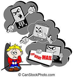 cyber, dessin animé, intimider