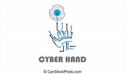 cyber, logo, mains