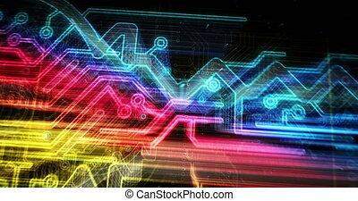 cyber, sécurité, futuriste, clã©, animation
