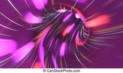 cyberespace, tunnel., vol, trou ver, lumière, sur, espace, néon, travel., chaîne, seamless, mouvement, conception, boucle, fi, flight., vaisseau spatial, sci
