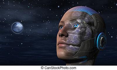 cyborg, femme, -, humanoïde