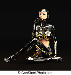 cyborg, femme, illustration, 3d