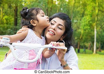 cyclisme, mère, parc, indien, enseignement, fille
