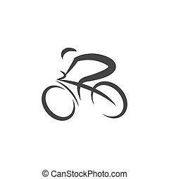 cyclisme, vecteur, illustration, logo, conception, icône