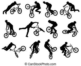 cycliste, acrobatie, bmx, silhouettes