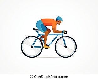 cycliste, affiche, vélo, illustration, vecteur, équitation