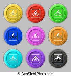 cycliste, buttons., signe., symbole, vecteur, neuf, coloré, rond, icône