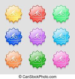 cycliste, buttons., signe., vecteur, ondulé, neuf, coloré, symbole, icône