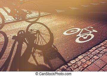cycliste, couloir, vélo, ombre