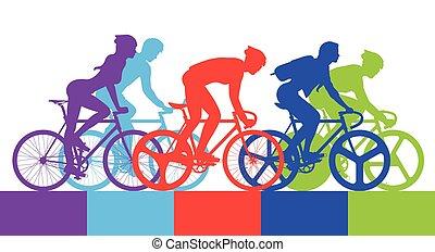 cycliste, course, vélo