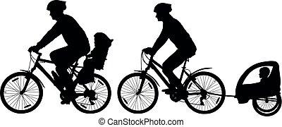 cycliste, cycle montagne, famille, ville, bikes., vélo, silhouette., vecteur, voyager, enfant, stroller., enfants