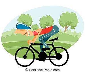 cycliste, mâle, vélo
