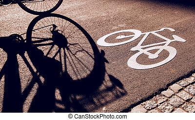 cycliste, unrecognizable, couloir, vélo, ombre