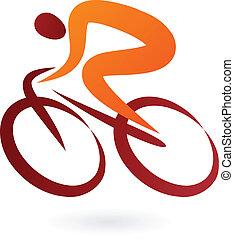 cycliste, vecteur, -, illustration, icône
