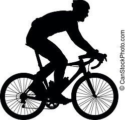 cycliste, vecteur, silhouette, illustration