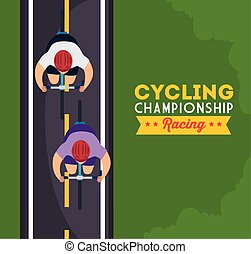 cyclistes, championnat, affiche, cyclisme, courses, vue aérienne