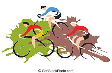 cyclistes, vélo course, montagne