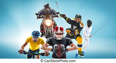 cyclotourism, multi, collage, football, américain, escrime, sports, hockey, moteur, conceptuel, sport