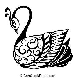 cygne, silhouette, oiseau