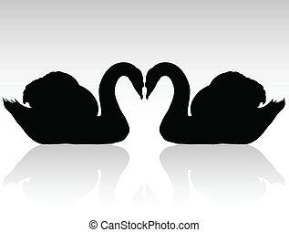 cygnes, silhouettes, vecteur, noir, deux