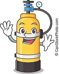 cylindre, onduler, oxygène, caractère, amical, conception, dessin animé
