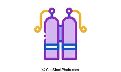 cylindre, oxygène, icône, animation
