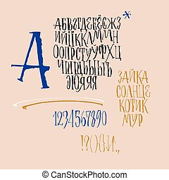 cyrillic, alphabet., calligraphic