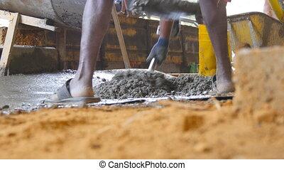 déblayement, site., fin, hommes, angle, avenir, haut, fonctionnement, manuellement, bas, ciment, bâtiment, area., project., indien, construction, tas, constructeurs, concept, unrecognizable, vue, local, mouillé